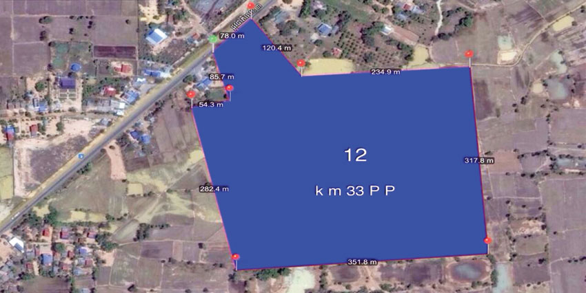 National Road 12Ha Land | 33km from PP Airport